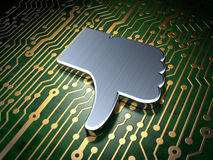 Social media concept: Thumb Down on circuit board Stock Photos