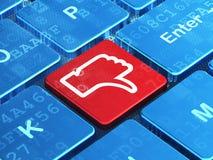 Social media concept: Thumb Down on computer Stock Photo