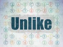 Social media concept: Unlike on Digital Data Paper background. Social media concept: Painted blue text Unlike on Digital Data Paper background with  Scheme Of Stock Photo