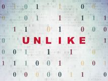 Social media concept: Unlike on Digital Data Paper background. Social media concept: Painted red text Unlike on Digital Data Paper background with Binary Code Stock Photos