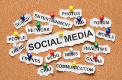 Social media concept words on corkboard Royalty Free Stock Photos