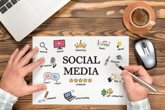 Social Media Concept On Work Desk With Various Doodle Icons Royalty Free Stock Photography