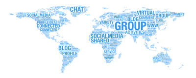 Social media concept on world map illustration in word collage. Over white background Stock Image