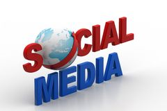 Social media concept with world. In white background Royalty Free Stock Photos