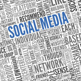 Social media conept in word tag cloud Royalty Free Stock Images