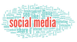 Social media conept in word tag cloud Royalty Free Stock Photos