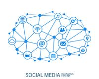 Social media connection concept. Abstract background with integrated circles and icons for digital, internet, network. Connect, communicate, technology, global royalty free illustration