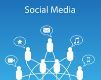 Social Media Connection. Vector illustration of connected peoples with social media Stock Photography