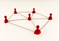 Social Media Connections. Social media pawns connected through fibre optic cables Royalty Free Stock Image