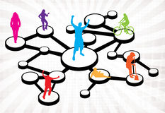 Social Media Connections Diagram. An illustration of different types of people connected in different ways.  This works great for social networking or word of Stock Photos