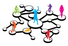 Social Media Connections Diagram. An illustration of different types of people connected in different ways.  This works great for social networking or word of Royalty Free Stock Photo