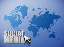 Social media connections illustration. Design over a world map Royalty Free Stock Photos