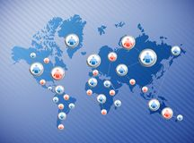 Social media connections illustration. Design over a world map Royalty Free Stock Image