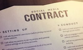 Social media contract. A Social Media Contract for Tweens and Parents. royalty free stock photo