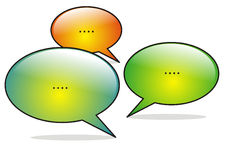 Social media conversation. White isolated social media conversation Stock Photo