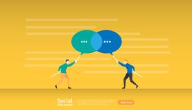 social media conversation network. Chat dialogue bubbles communication people character. community chatting online. news discuss stock illustration