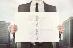 Social media crossword concept on paper Stock Photo