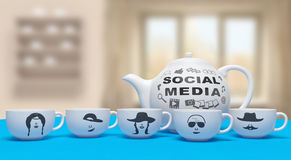 Social media cups teapot. Social media networking online creative concept: white cups with faces (emotions) and teapot with web icons and word as symbol of human Stock Image