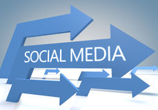 Social Media. 3d render concept with blue arrows on a bluegrey background Royalty Free Stock Images