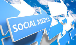 Social Media. 3d render concept with blue and white arrows flying upwards in a blue sky with clouds Royalty Free Stock Photography