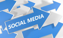 Social Media. 3d render concept with blue and white arrows flying upwards over a white background Royalty Free Stock Photos