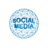 Social media. On 3d sphere Stock Image
