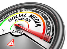 Social media dangers level to maximum modern conceptual meter Royalty Free Stock Image