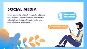 Social Media, das Freiberufler mit Tablet-Schwätzchen surft stock abbildung
