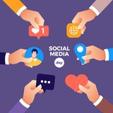 Social Media Day. Vector Illustration. Connecting people together with cutting-edge technology stock illustration