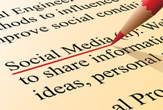 Social media definition. Definition of the term social media illustrated as it is in the dictionary Stock Images