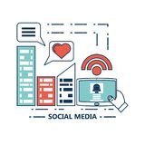 Social media design. City building and tablet with social media related icons over white background colorful design vector illustration Royalty Free Stock Image