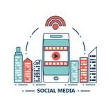 Social media design. City buildings and smartphone with social media related icons over white background colorful design vector illustration Royalty Free Stock Images