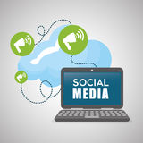 Social media design. laptop icon. networking concept Stock Images