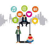 Social media design. Men using technology devices with social media icons around over city background. colorful design.  illustration Stock Photography