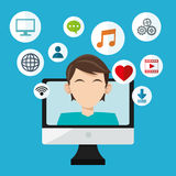 Social media design. Networking icon. Technology concept Stock Images