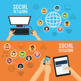 Social media design. Networking icon. Technology concept Royalty Free Stock Photography