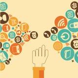 Social media design. Over beige background, vector illustration Stock Photos