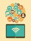Social media design. Over beige background, vector illustration Royalty Free Stock Image