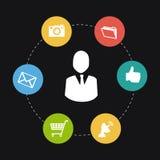 Social media design. Over black background, vector illustration Royalty Free Stock Image