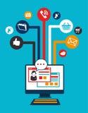 Social media design. Over blue background vector illustration Royalty Free Stock Image