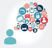 Social media design. Over gray background, vector illustration Royalty Free Stock Image