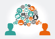 Social media design. Over gray background, vector illustration Stock Photography