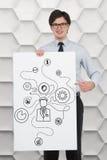 Social media diagram. Businessman holding poster with social media diagram Stock Photos