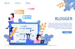 Social Media Digital Blogger Writer Character stock illustration