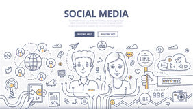 Social Media Doodle Concept Royalty Free Stock Photos