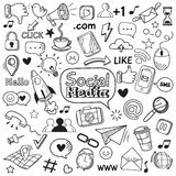 Social media doodle. Internet website doodles, social network communication and online web hand drawn vector icons set stock illustration
