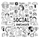 Social media doodle set. Hand-drawn vector illustration Stock Images