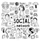 Social media doodle set. Hand-drawn vector illustration Stock Images