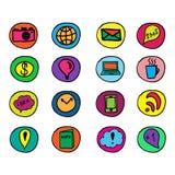 Social Media Doodles Elements. Hand drawn color illustration set of social media sign and symbol doodles elements. Isolated on white background royalty free illustration