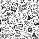 Social Media Doodles Hand Drawn Seamless Pattern Stock Images